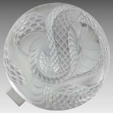 Lalique Paris France Molded Crystal Hinged Jewelry Box Coiled Serpent Snake