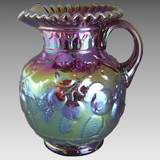 Fenton Ruby Red Carnival Glass Pitcher Apple Tree 6555 RN