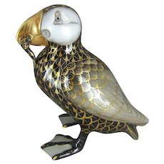 Herend Porcelain Black Fishnet Puffin Bird by Vecsey Tamas