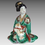 Japanese Kutani Porcelain Geisha with Pekingese Dog