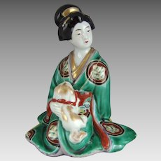Japanese Kutani Porcelain Geisha with Pekingese Dog