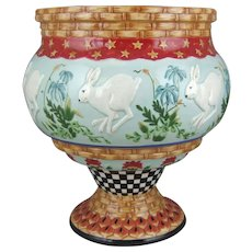 Fitz & Floyd White Rabbit Planter Jardiniere Cachepot Fox and Hare Collection Retired