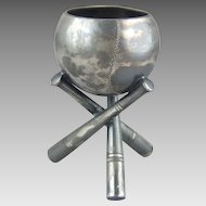 C1900 Silver Plated Baseball Bat and Ball Toothpick Holder Match Holder