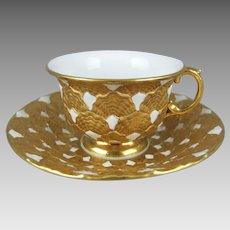 Meissen Porcelain Gold Encrusted Demitasse V24b Cup Saucer Set