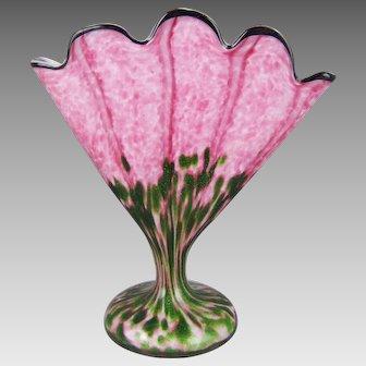Franz Welz Pink Striped Green Aventurine Czech Glass Fan Vase