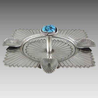 Carson Blackgoat Navajo Silver and Turquoise Ash Tray