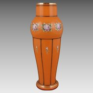 "Art Deco Tango Orange Czech Glass Enamel Decorated 12.5 "" Vase"