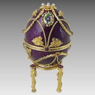 Faberge Anniversary Egg with Pendant Gold Silver Pearls Tourmaline Diamond Amethyst