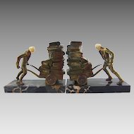 J.B. Hirsch Librarian Pushing Book Cart Art Deco Bookends