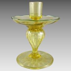 Durand Art Glass Spanish Yellow Candlestick Uranium Glass