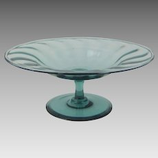 Steuben Glass Optic Ribbed Compote Blue Gray Antique Green