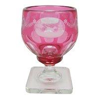 Steuben Glass Gold Ruby 7299 Cut & Engraved Hunting Scene Goblet C1930