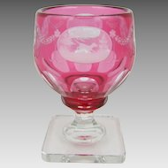 Steuben Glass Gold Ruby 7299 Cut & Engraved Hunting Scene Goblet C1930