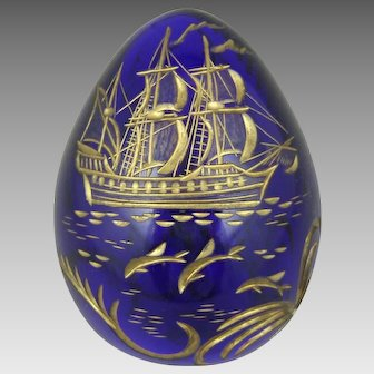 A Russian Cut & Gilt Enamel St. Petersburg Cobalt Glass Faberge Egg