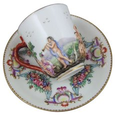 Antique Naples Capodimonte Porcelain Cup & Saucer