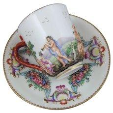 Antique Naples Capodimonte Porcelain Cup & Saucer