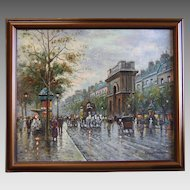 French Impressionist Oil on Canvas Portes St. Martin et St. Denis School of Antoine Blanchard