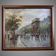 French Impressionist Oil on Canvas Portes St. Martin et St. Denis School of Antoine Blanchard