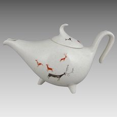 Viktor Schreckengost Primitive Pattern Free Form Teapot Salem China