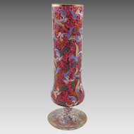 Moser Bohemian Ruby Glass Enamel Decorated Pedestal Vase
