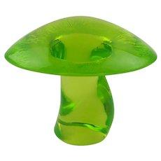 Viking Vaseline Glass C1970 Uranium Glass Lime Mushroom