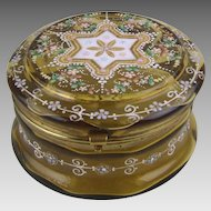 Antique Moser Glass Enamel Decorated Circular Dresser Box