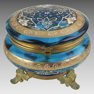 Antique Moser Bohemian Glass and Ormolu Dresser Box