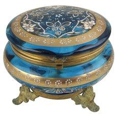Antique Moser Bohemian Glass and Ormolu Dresser Box