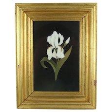 Italian Pietra Dura White Iris Floral Plaque Gilt Wood Frame