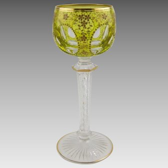 French Crystal St. Louis Air Twist Wine Hock Stem Chartreuse Cut to Clear