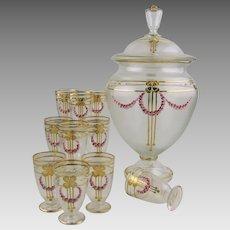 Jugendstil Harrach Bohemian Glass Punch Bowl Set Four Leaf Clover