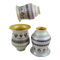 Steuben 2388 Iridescent Cased Gold Aurene Enamel Decorated Shade Set