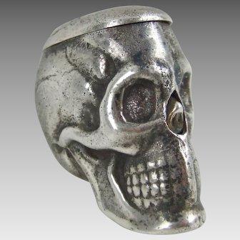 Antique Victorian Novelty Silver Plated Skull Vesta Case