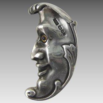 "English Sterling Silver Novelty ""Moon"" Vesta Case  David A Bowles"