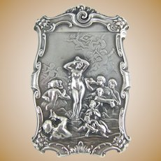 "C1890 Art Nouveau ""Venus Rising"" Repousse Silver  Match Safe -  William B. Kerr & Co."
