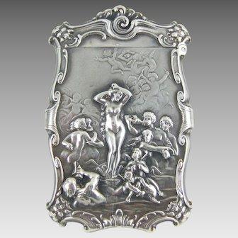 """C1890 Art Nouveau """"Venus Rising"""" Repousse Silver  Match Safe -  William B. Kerr & Co."""