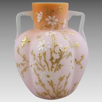 Victorian Melon Form Cased Satin Glass Vase
