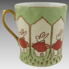 T & V Limoges France Porcelain Cup with Arts & Crafts Peter Rabbit Design