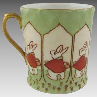 T & V Limoges France Porcelain Cup with Arts & Crafts Peter Rabbit Design
