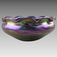 Rindskopf Striated Iridescent Bohemian Glass Bowl
