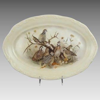 Bobwhite Quail Hand Painted Ceramic 16 Inch Platter