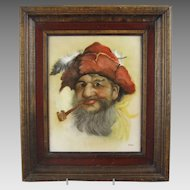 Hand Painted Portrait on Porcelain - The Pipe Smoker