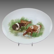 Hand Painted Porcelain Platter with Cows Grazing