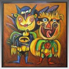 Batman & Robin Pop Art Abstract Painting Oil on Canvas