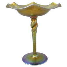 Steuben Gold Aurene Twist Stem Compote Shape 367