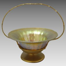 Louis C. Tiffany Furnaces Favrile Glass Basket in 516 Dore Bronze Frame