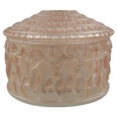 Lalique Enfants Molded Crystal Box with Sepia Patina