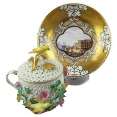 Meissen Schneeballen Cup, Cover and Stand Circa 1740 - 45 with Hand Painted Landscape Scenes