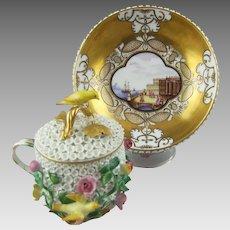 Meissen Schneeballen Cup, Cover and Stand Circa 1740 - 45