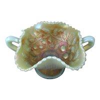 Northwood Aqua Opal Bon-Bon Carnival Glass Bowl Fruits & Flowers